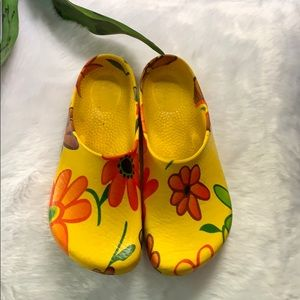 Birkenstock Yellow Floral Polyurethane Clogs